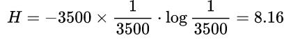 3500个汉字等概率出现的信息量